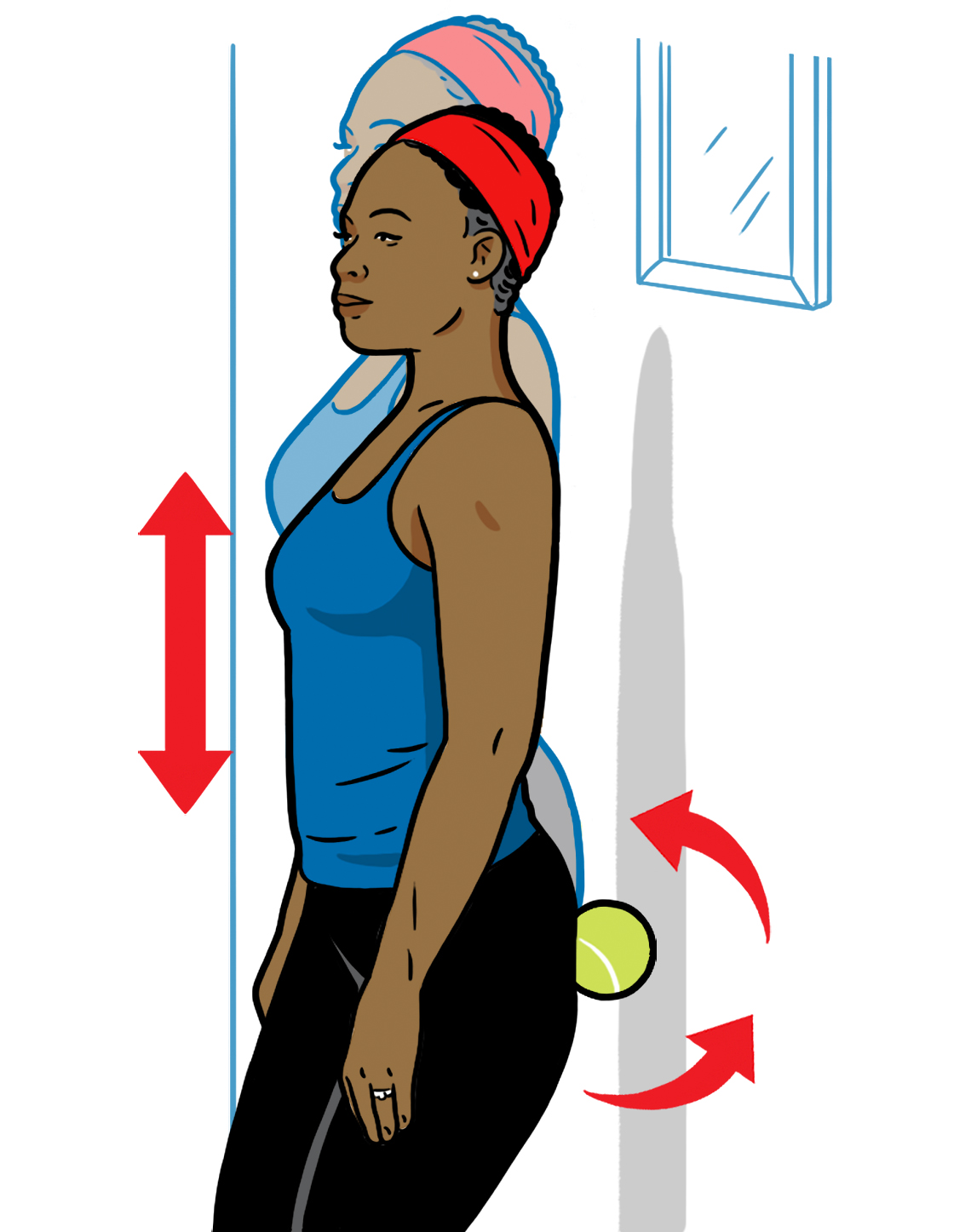 Dibujo muestra una mujer usando una bola de tenis para aliviar el dolor de caderas