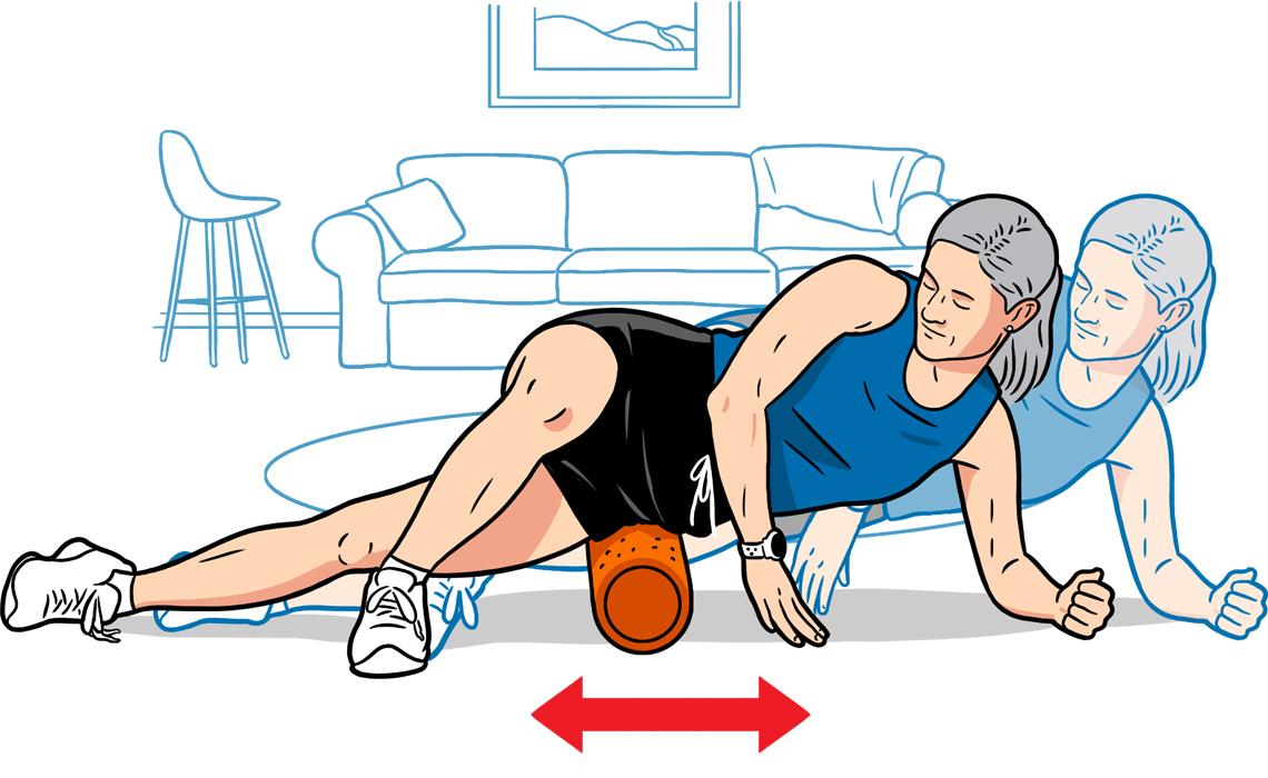 Dibujo que muestra una mujer usando un rodillo de espuma para masajear sus caderas