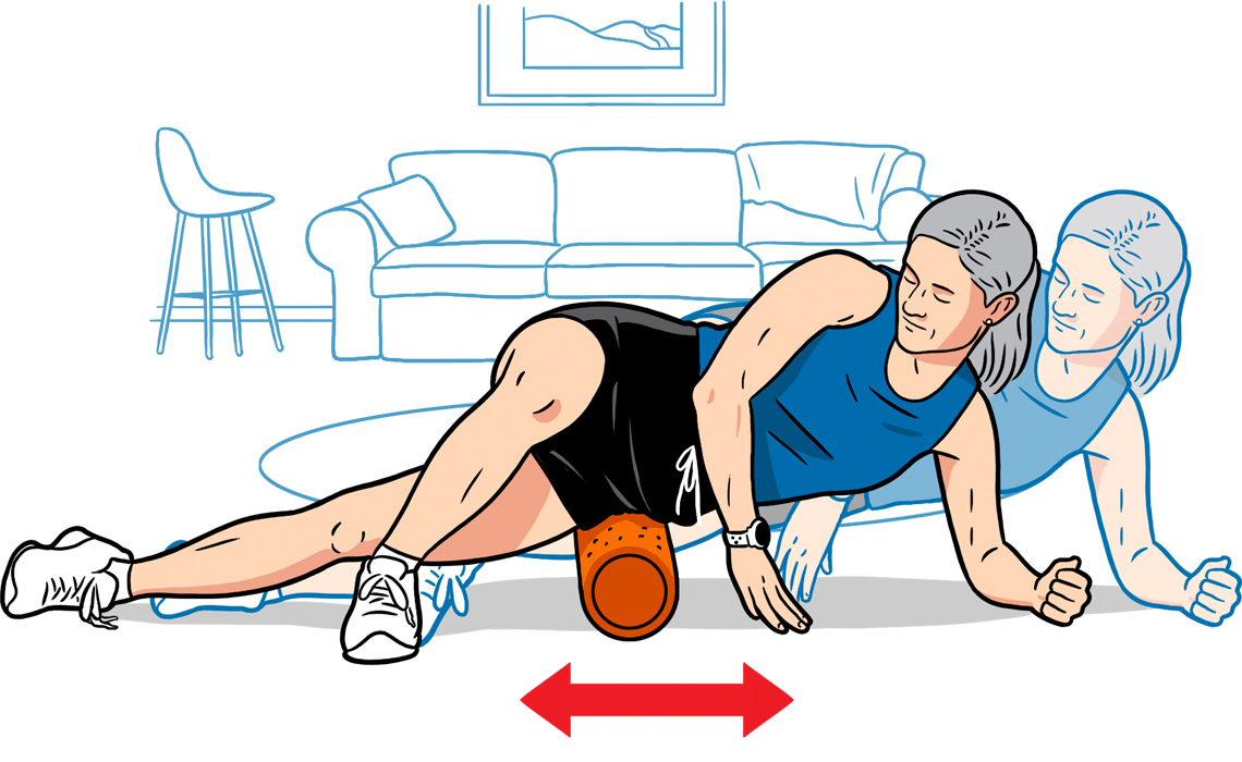 diagram showing how to use foam roller for knee pain
