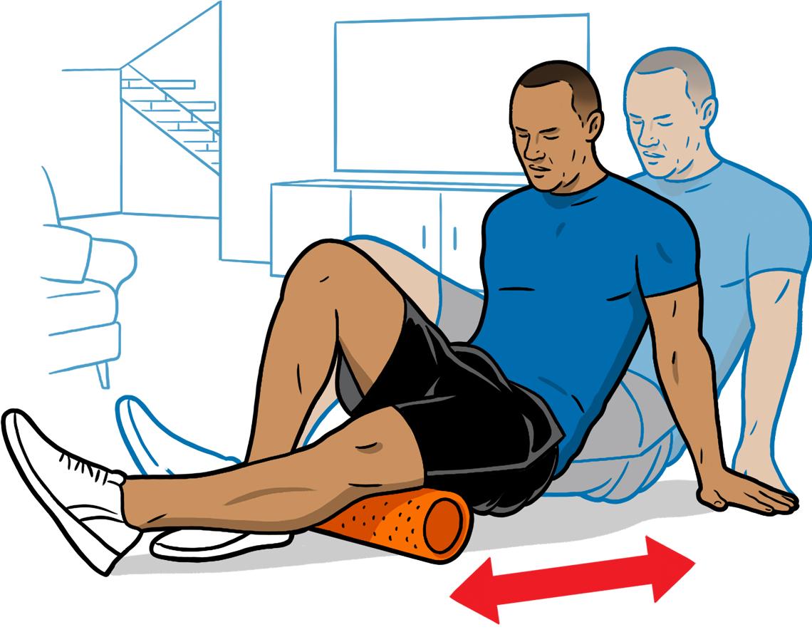 Dibujo de un hombre masajeando la parte de atrás de su rodilla con un rodillo de espuma