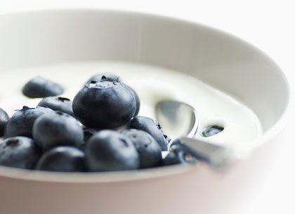 blueberries and milk