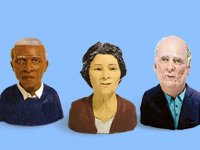Three sculptures of 65 and older people. Aging population in America.
