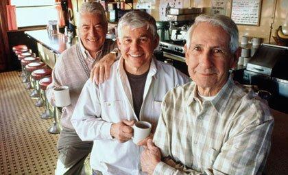 buddies in coffee shop