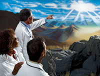Medical doctors facing a brilliant horizon