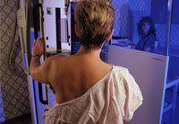 Woman getting mammogram-breast cancer mortality rates study