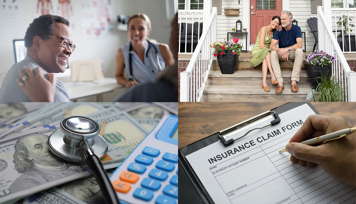 collage of four images - a man in a doctor's office,  couple sitting on their front porch, stethoscope and calculator on top of currency, and an insurance claim form