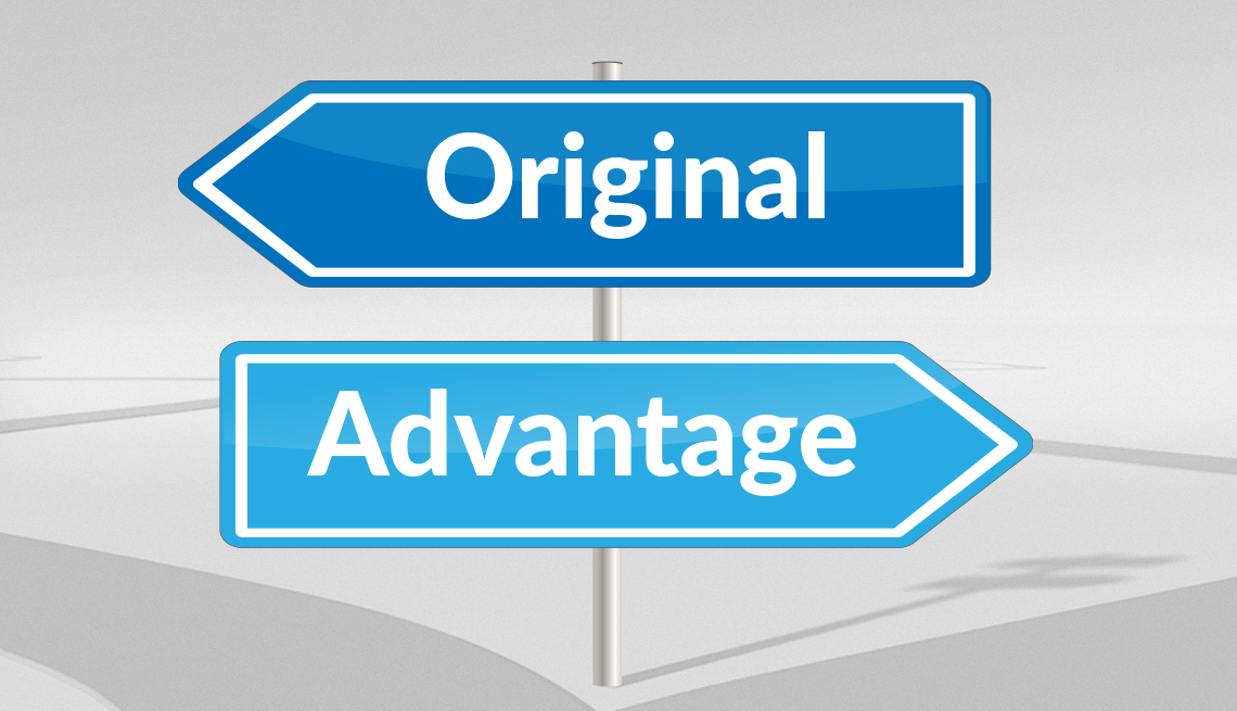 arrow shaped signs that say original and advantage pointing in opposite directions
