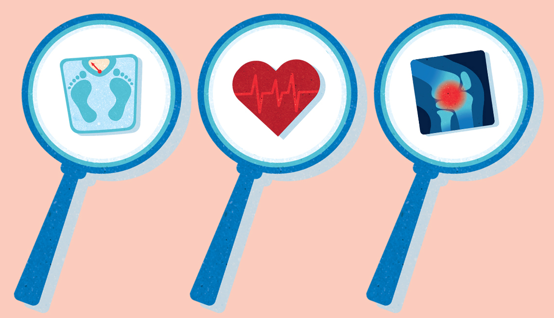 magnifying glasses over three medical icons a heart a scale and an xray