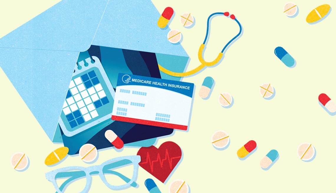 Ilustración de un sobre del cual salen medicamentos, una tarjeta de medicare, un calendario, unos espejuelos, un estetoscopio y un corazón