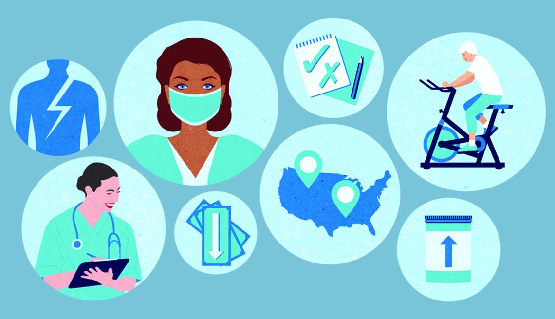 Gráfico que muestra diferentes símbolos relacionados a la salud
