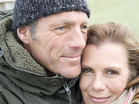 Close up of aged couple .