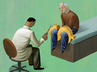 Drawing of a doctor giving a reflex exam to patient. What is covered under a Medicare wellness exam?