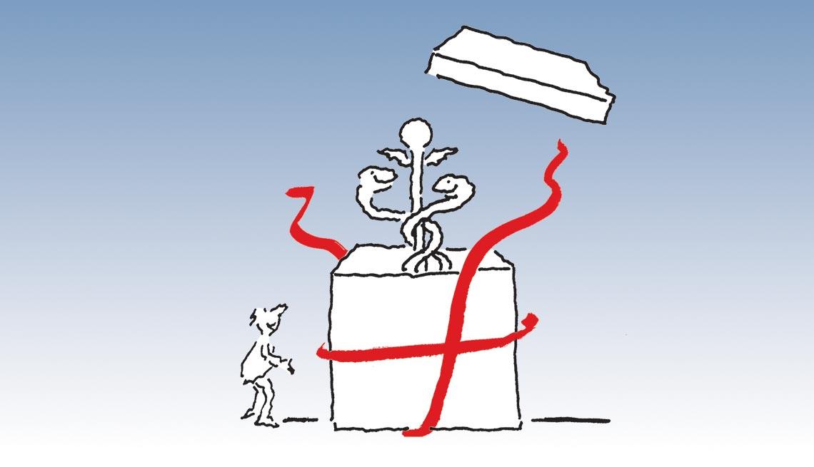 Medicare starter kit, man watching caduceus rise out of gift box, illustration