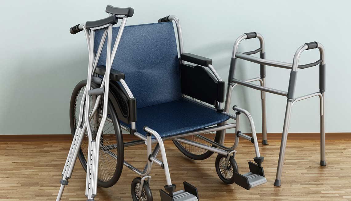 Muletas, silla de ruedas y andador
