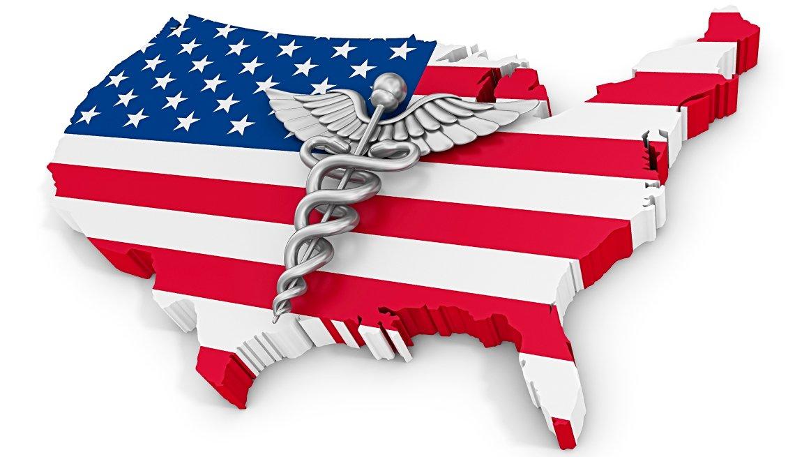 Mapa de Estados Unidos con la bandera y el símbolo de Caduceo