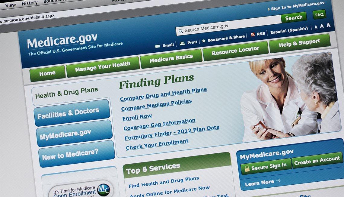 Captura de pantalla de Medicare.gov