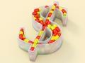 Envase en forma de signo de dólar lleno de medicamentos