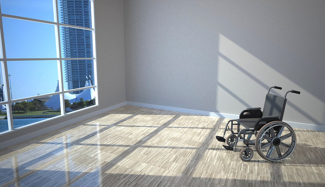 A wheelchair by the window