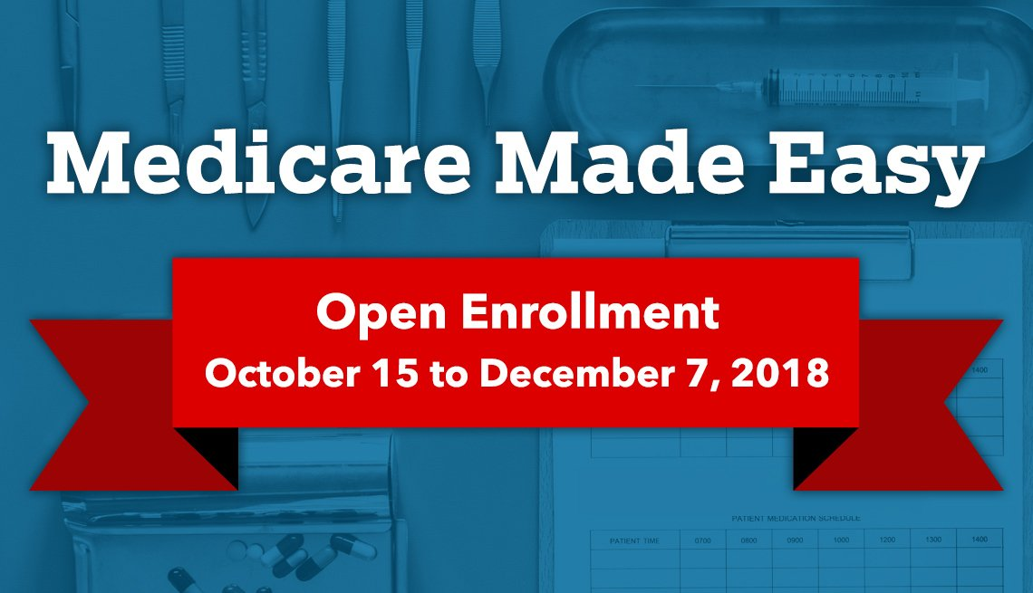 Medicare Made Easy: Open Enrollment October 15 to December 7, 2018. Medical imagery in the background.