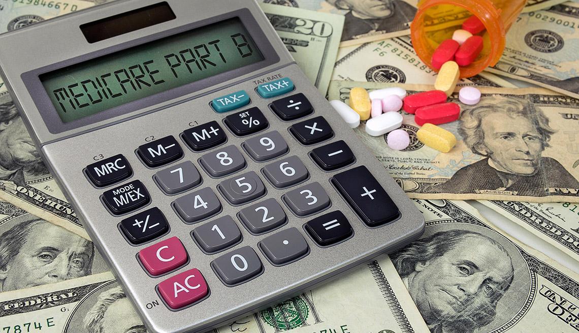 Medicare Plan B text on a calculator