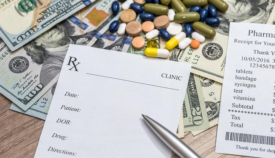 Cost of medicine- blank prescription, pharmacy receipt, pills and money.