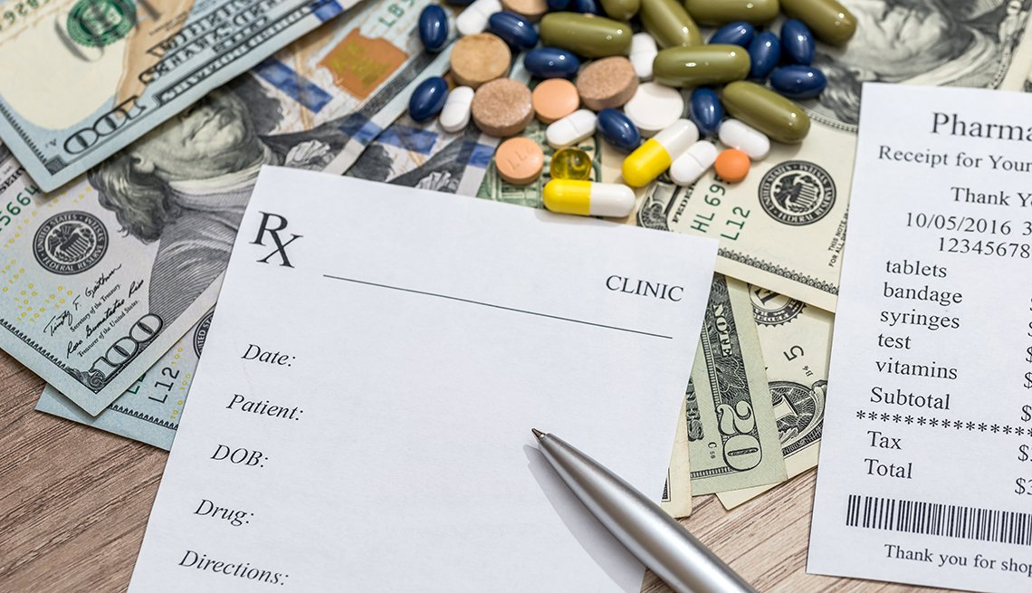 Cost of medicine- blank prescription, pharmacy receipt, pills and money.