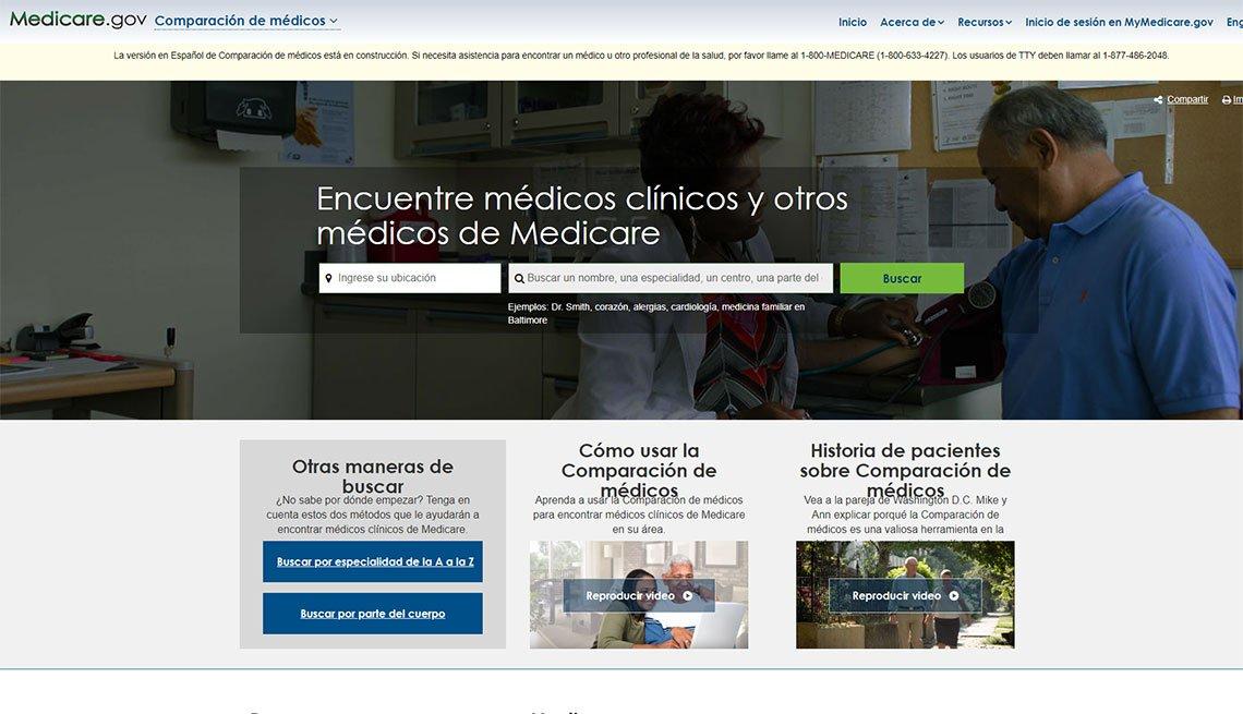 Captura de pantalla del sitio de Medicare