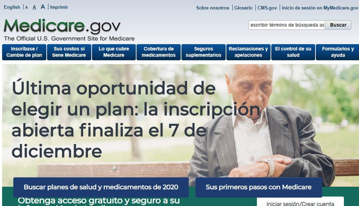 Captura de pantalla de la página web de Medicare