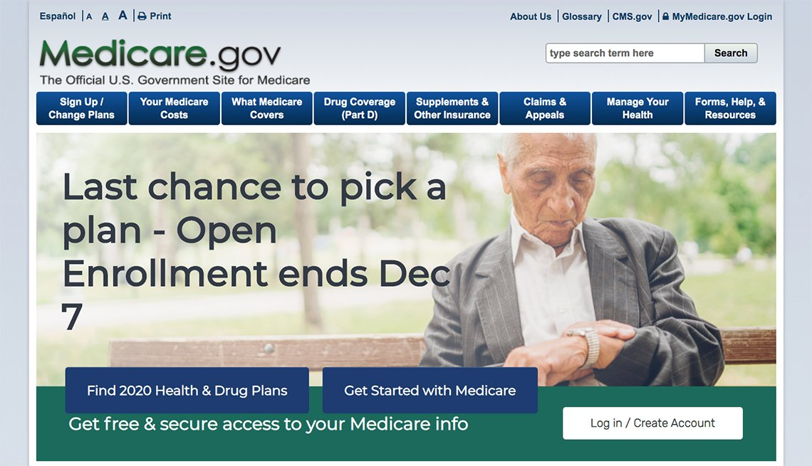 The home page of Medicare.gov that shows that open enrollment ends on December 7