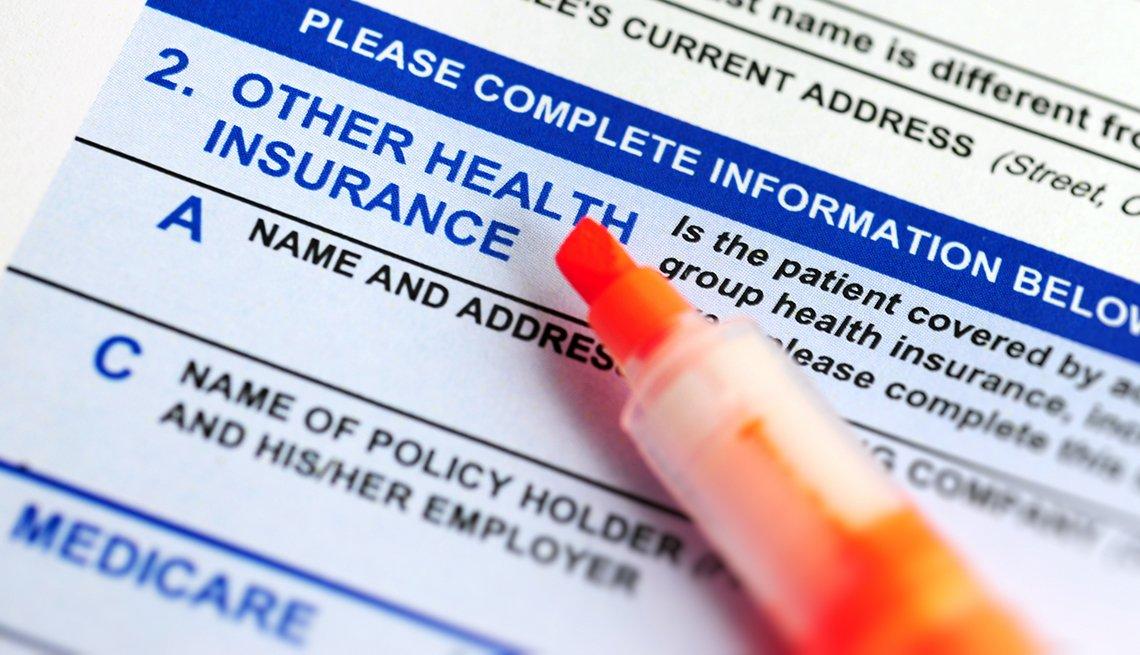 highlighter pen on a medicare enrollment form