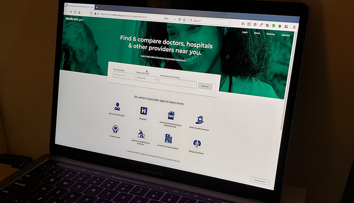 Photograph of the Medicare Compare website