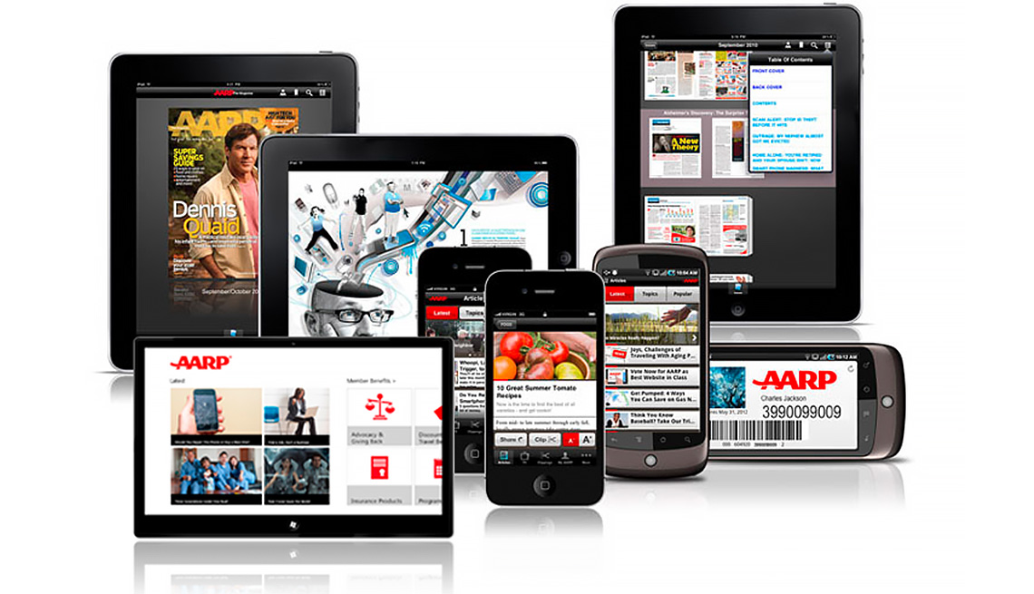 various tablet and mobile devices showing AARP content