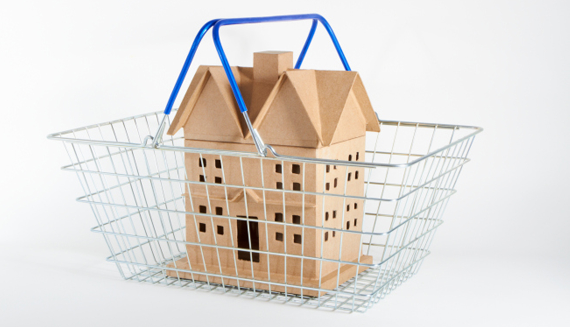 Cardboard house inside of a shopping basket