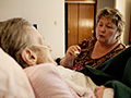 daughter feeds mother, Pat Franta found services to ease some caregiving tasks AARP Ohio