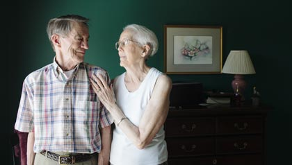 Portrait of caregiver Pat Lambert of Albany, and his wife, Clara, who has Alzheimers in their home - Caregiving
