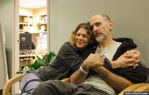 Couple in hospital waiting room. Caregiving for step families (Shalom Ormsby/Getty Images)