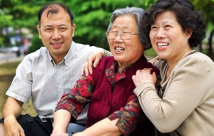Mature couple and elderly mother