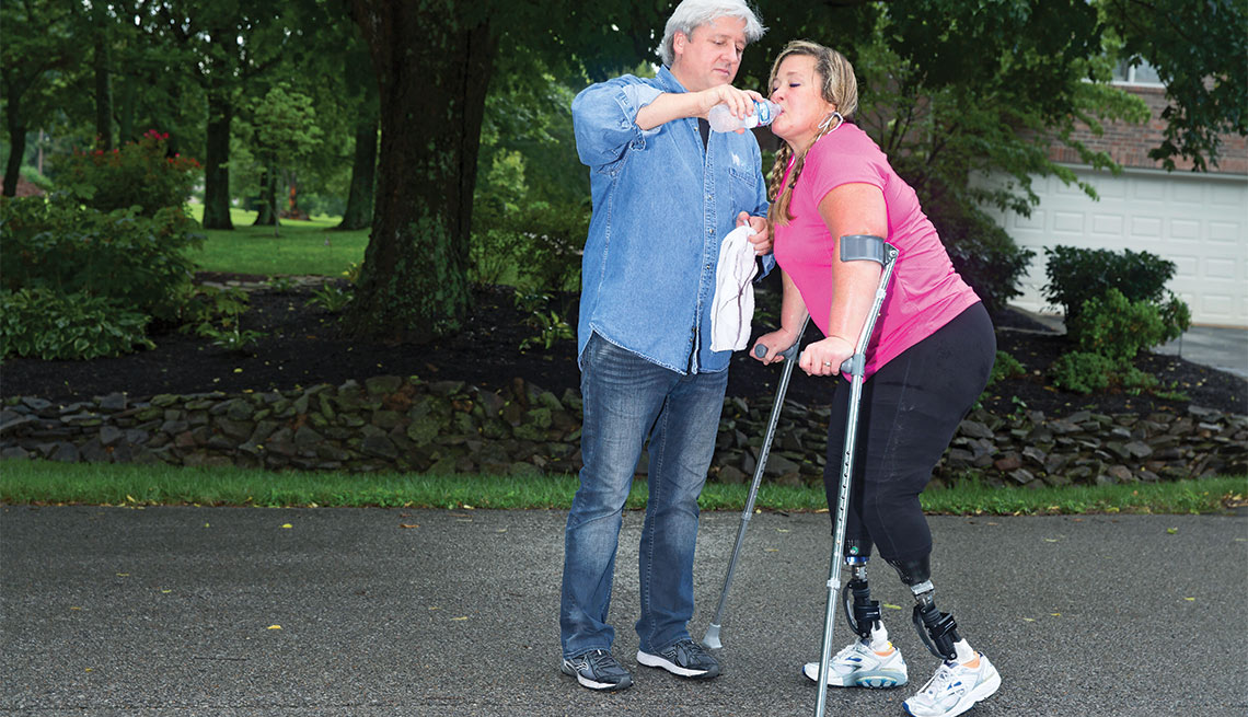 A Day in the Life of a Caregiver, Peter Rosenberger and Gracie on a walk
