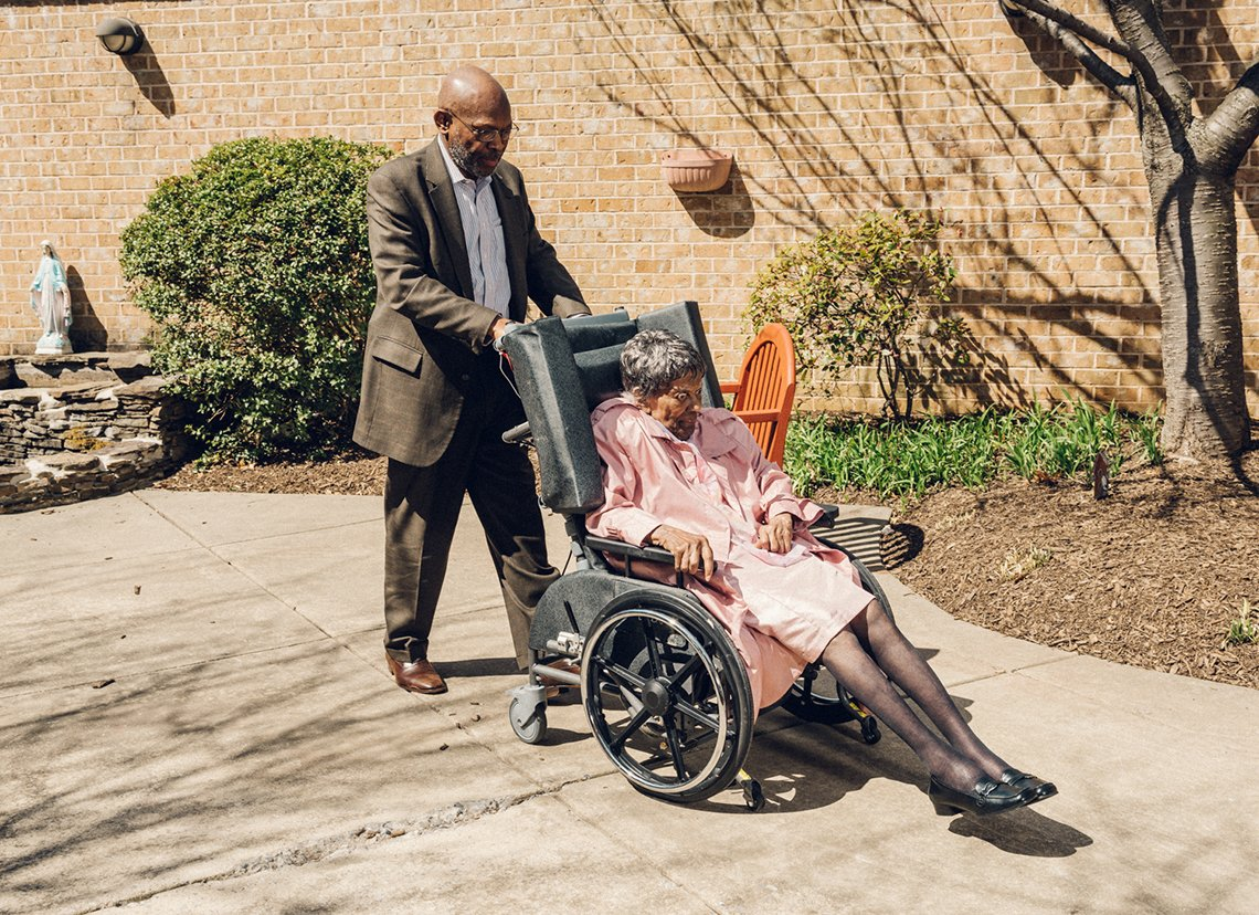 Male Caregiver, James Dotson with his mother Edith Dotson