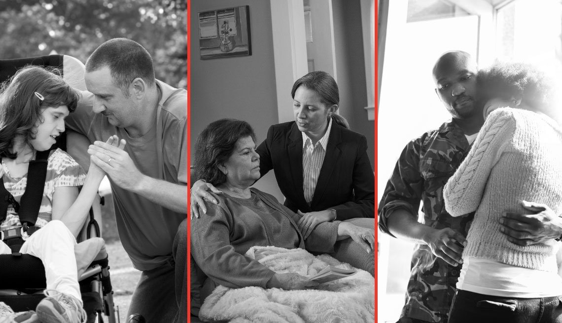 Child holding father's hand, daughter helps mother, military service member hugs girlfriend, AARP, Caregiving Resource Center, Family Caregivers Act