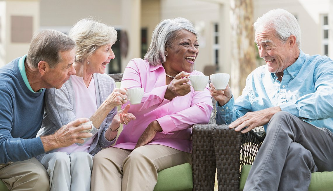 Multi-ethnic Senior Group have Coffee, Find the Right Care for Your Loved One