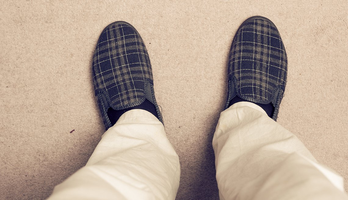 Man Wearing Slippers on Carpet, Simple Steps to Prevent Falls