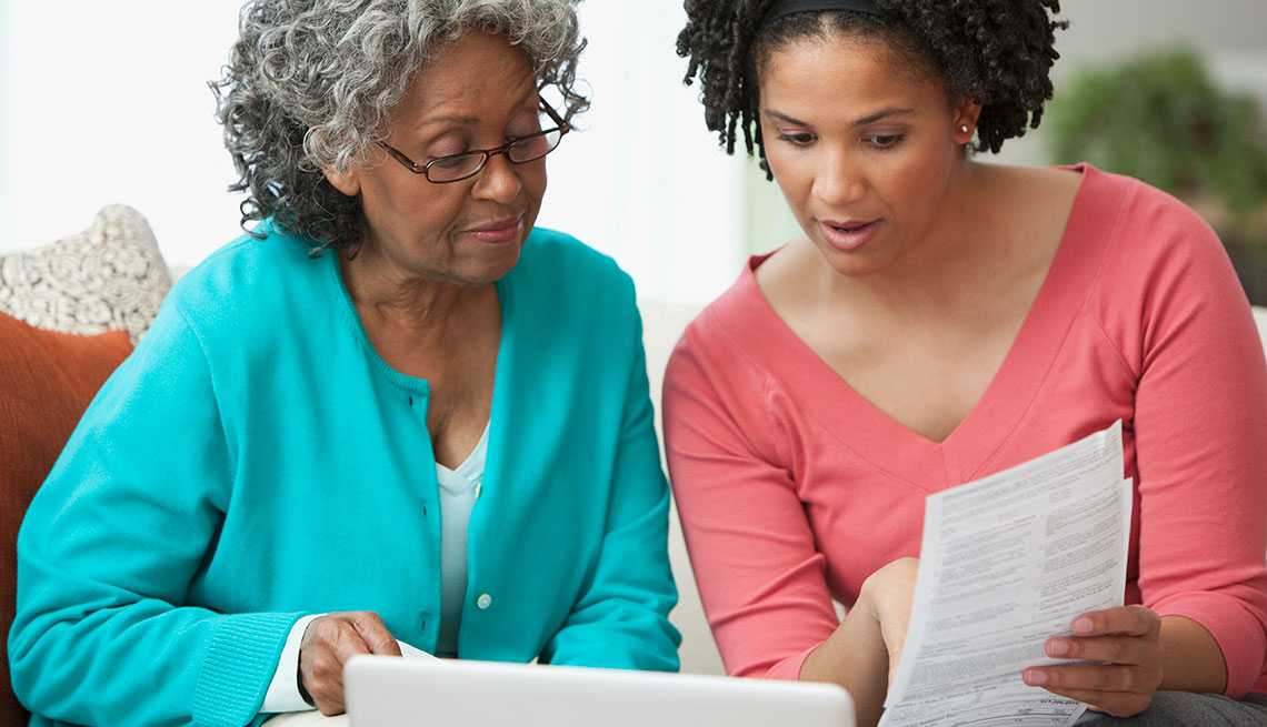 Mother and Adult Daughter Review Paperwork, How to Arrange a Manageable Move, Family Caregiving Project
