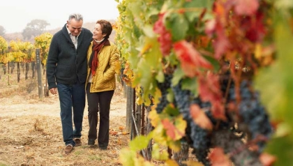 Mature couple walking in vineyard, first date
