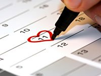 Drawing a heart on calendar