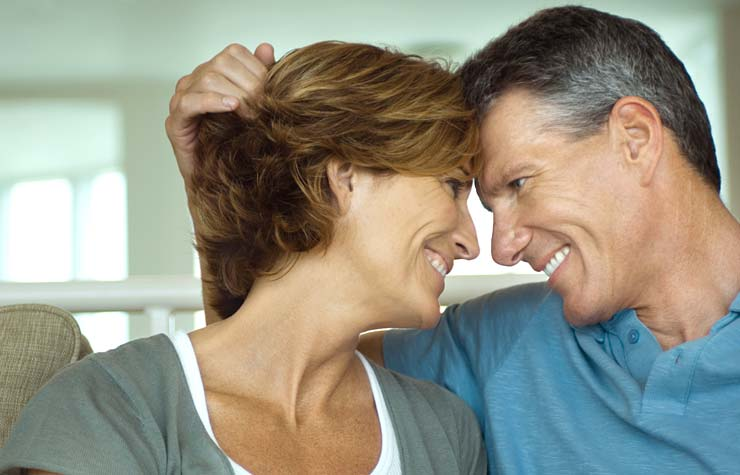 Couple smiling at each other