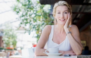 Woman drinking coffee at a cafe. Your online dating questions answered. (OJO Images/Getty Images)