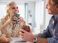 Couple drinking coffee together while laughing, The 3 Rs of Dating (Jamie Grill/Tetra Images/Corbis)