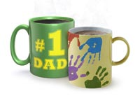 Two mugs representing father and child
