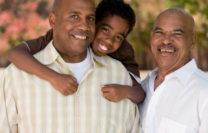 African-American dad, granddad and son
